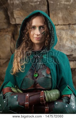 Portrait Of Elf Woman In Green Leather Armor