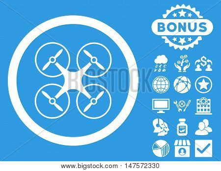 Copter icon with bonus pictures. Vector illustration style is flat iconic symbols, white color, blue background.