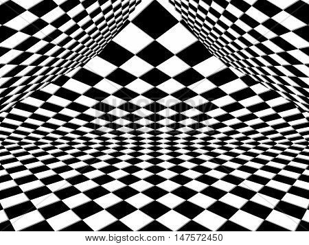 Checkered Background Pattern In Perspective With A Black And White Geometric Design