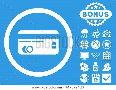 Credit Card icon with bonus images. Vector illustration style is flat iconic symbols, white color, blue background.