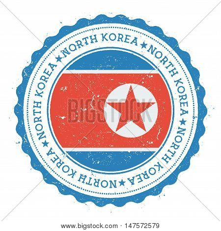 Grunge Rubber Stamp With Korea, Democratic People's Republic Of Flag. Vintage Travel Stamp With Circ