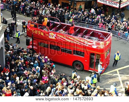 London, Uk - 14 February 2016: Red Double-decker Bus In Chinese New Year 2016
