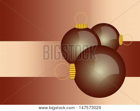 Illustrated christmas balls ornaments in shiny warm brown