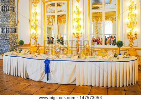 Russia, St. Petersburg - June 22/2013: Palace Of Tsarskoye Selo Received Visitors After Restoration