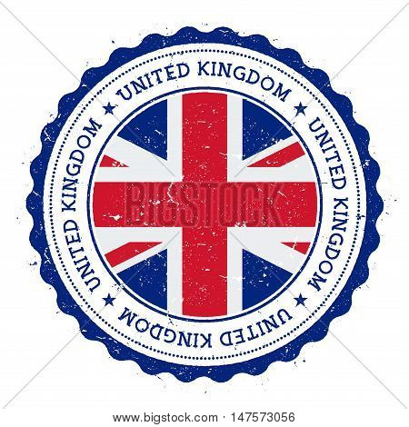 Grunge Rubber Stamp With United Kingdom Flag. Vintage Travel Stamp With Circular Text, Stars And Nat