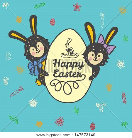 Happy Easter card with rabbits and egg. Vector illustration of Easter ornamental card with hare on blue background.