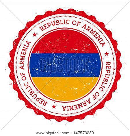 Grunge Rubber Stamp With Armenia Flag. Vintage Travel Stamp With Circular Text, Stars And National F