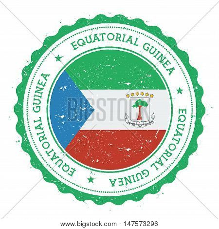 Grunge Rubber Stamp With Equatorial Guinea Flag. Vintage Travel Stamp With Circular Text, Stars And