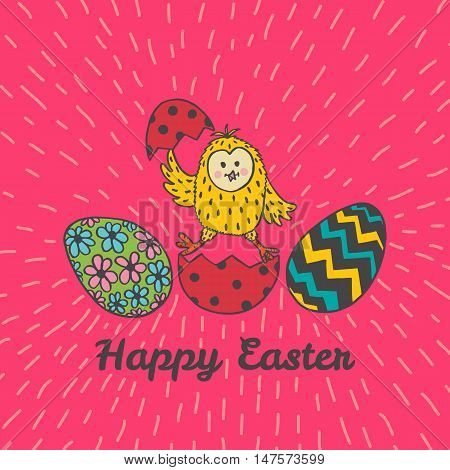 Happy Easter card with chick and eggs. Vector illustration of Easter ornamental card with chick on red background.