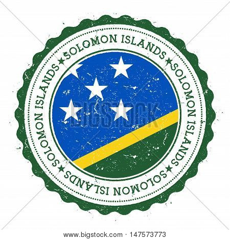 Grunge Rubber Stamp With Solomon Islands Flag. Vintage Travel Stamp With Circular Text, Stars And Na
