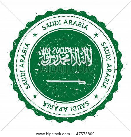 Grunge Rubber Stamp With Saudi Arabia Flag. Vintage Travel Stamp With Circular Text, Stars And Natio