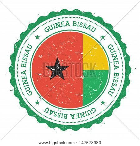 Grunge Rubber Stamp With Guinea-bissau Flag. Vintage Travel Stamp With Circular Text, Stars And Nati