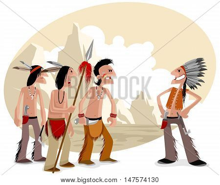 Vector illustration of a four indians in prairie