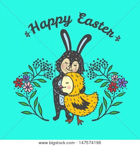 Happy Easter card with rabbit and chick. Vector illustration of Easter ornamental card with Bunny and chick on blue background.