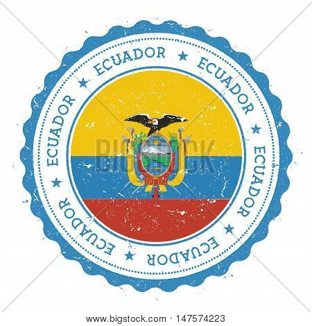 Grunge Rubber Stamp With Ecuador Flag. Vintage Travel Stamp With Circular Text, Stars And National F