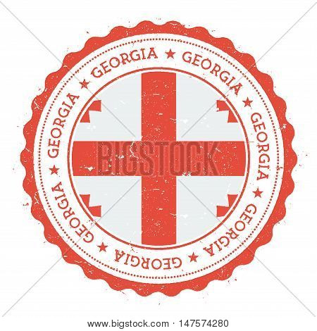 Grunge Rubber Stamp With Georgia Flag. Vintage Travel Stamp With Circular Text, Stars And National F