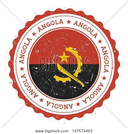 Grunge Rubber Stamp With Angola Flag. Vintage Travel Stamp With Circular Text, Stars And National Fl