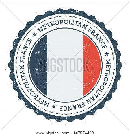 Grunge Rubber Stamp With France Flag. Vintage Travel Stamp With Circular Text, Stars And National Fl