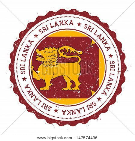 Grunge Rubber Stamp With Sri Lanka Flag. Vintage Travel Stamp With Circular Text, Stars And National