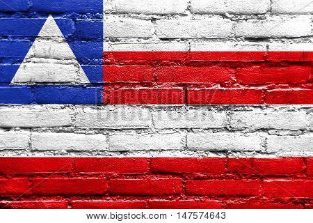 Flag Of Bahia State, Brazil, Painted On Brick Wall
