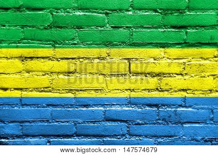 Flag Of Bandung, West Java, Indonesia, Painted On Brick Wall