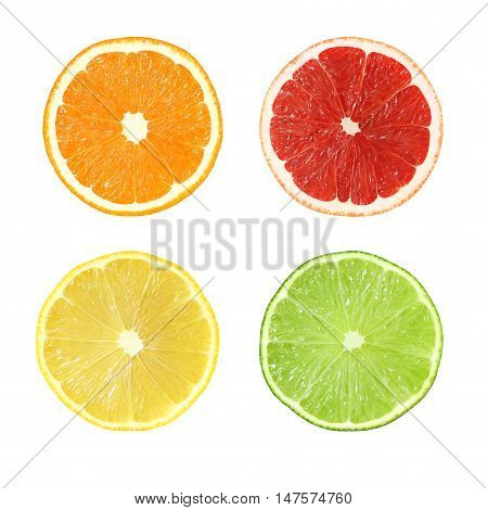 Collection of cut orange grapefruit lemon lime fruits isolated on white background with clipping path