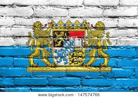 Flag Of Bavaria With Coat Of Arms, Germany, Painted On Brick Wall