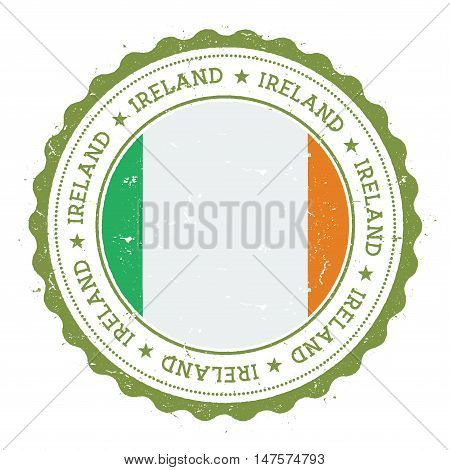 Grunge Rubber Stamp With Ireland Flag. Vintage Travel Stamp With Circular Text, Stars And National F