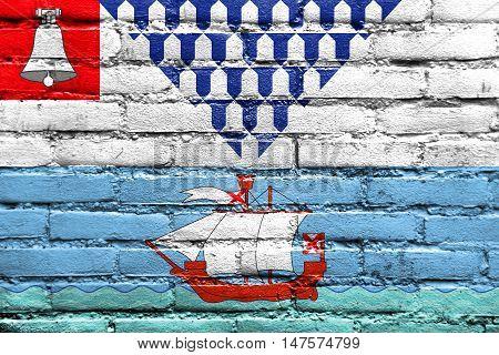 Flag Of Belfast, Northern Ireland, Uk, Painted On Brick Wall