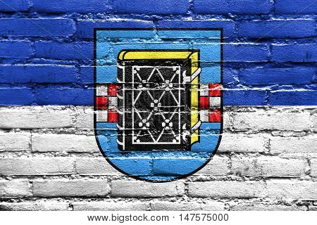 Flag Of Bochum With Coat Of Arms, Germany, Painted On Brick Wall