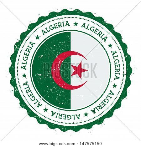 Grunge Rubber Stamp With Algeria Flag. Vintage Travel Stamp With Circular Text, Stars And National F