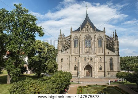 Kutna Hora, Czech Republic, 29 July 2016 - Saint Barbara's Church. Old gothic cathedral landmark.