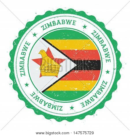 Grunge Rubber Stamp With Zimbabwe Flag. Vintage Travel Stamp With Circular Text, Stars And National