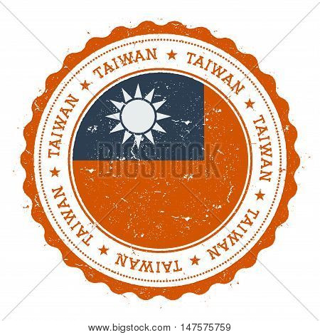 Grunge Rubber Stamp With Taiwan, Republic Of China Flag. Vintage Travel Stamp With Circular Text, St