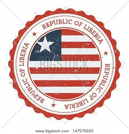 Grunge Rubber Stamp With Liberia Flag. Vintage Travel Stamp With Circular Text, Stars And National F