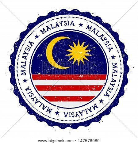 Grunge Rubber Stamp With Malaysia Flag. Vintage Travel Stamp With Circular Text, Stars And National