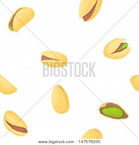Pistachio nuts seamless pettern. Vector illustration of nuts isolated on white background