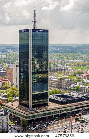WARSAW, POLAND - MAY 3, 2016: LIM Center - business shopping and hotel complex. Hotel part operated by Marriott was the first investment of this chain in East-Central Europe in 1989.