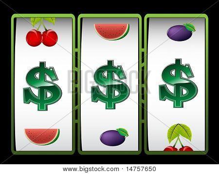 Casino slot machine with dollar sign