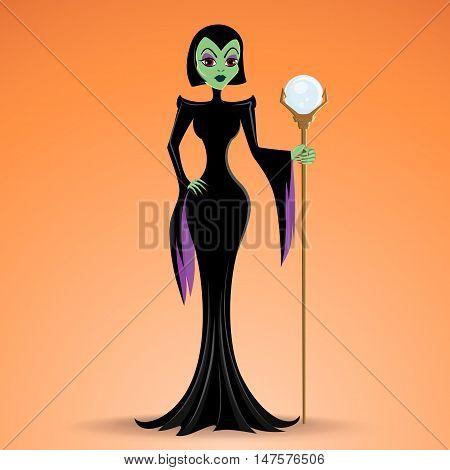 Illustration of a sorceress, Halloween element isolated on orange surphace