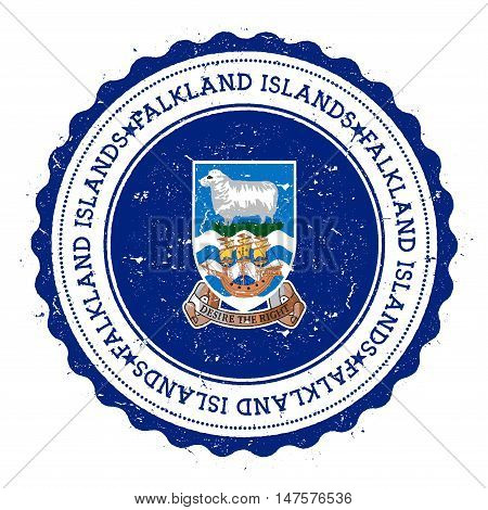 Grunge Rubber Stamp With Falkland Islands (malvinas) Flag. Vintage Travel Stamp With Circular Text,