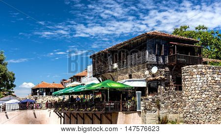 SOZOPOL, BULGARIA - JULY 20, 2016: Cityscape of Sozopol, one of the oldest Bulgarian towns founded in the 7th century BC, nowadays one of the major seaside resorts in the country.