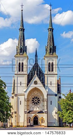 Virgin Mary's Immaculate Conception Church built in Ostrava, Czech Republic, built in neoghotic-baroque style.