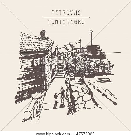 original sepia ink sketch drawing of ancient fort in Petrovac Montenegro, Balkans, Adriatic sea, Europe, vintage touristic postcard, travel vector illustration