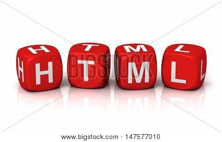 html cubes 3d illustration isolated on white background