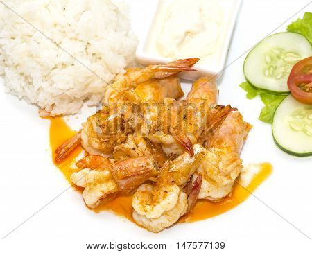 prawns grilled with rice on a white background in the restaurant
