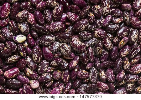 Background of raw beans close up shot