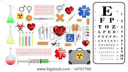 medical supplies and accessories and eye chart