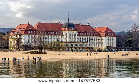 SOPOT, POLAND - APRIL 09, 2016: 5 stars Sofitel Grand Sopot. Stylish hotel built in 1927 in Art Noveau and neo-baroque style remains one of the most recognizable landmarks of the resort.
