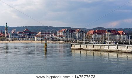SOPOT, POLAND - APRIL 09, 2016: Skyline of Sopot, a major health-spa and tourist resort on the Polish Baltic Sea coast with two luxury hotels - old style Sofitel Grand and modern Sheraton.